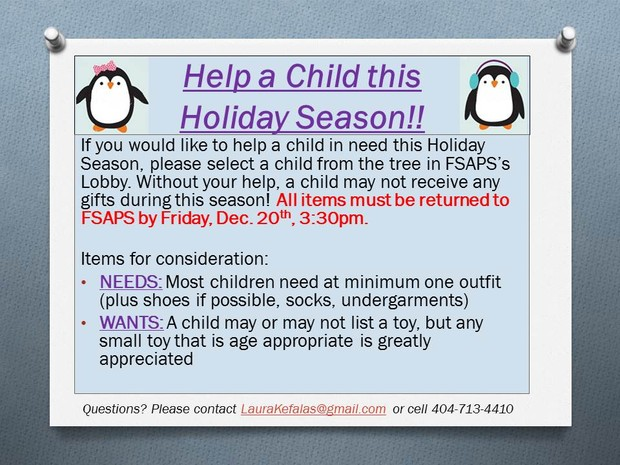 FSA HELP CHILD THIS HOLIDAY SEASON