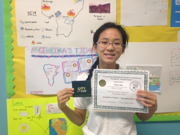 Fulton science academy private school elaine wen won 1st place in 2015 spanish poster contest