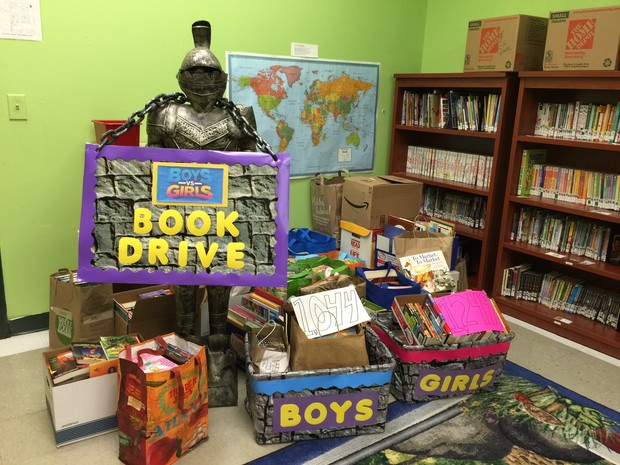 Fulton science academy private school spring book drive book character dress up